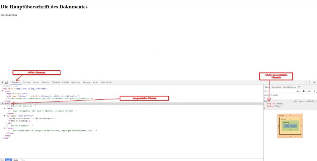 1.) HTML und CSS lernen - Element untersuchen in Chrome einer HTML-Seite