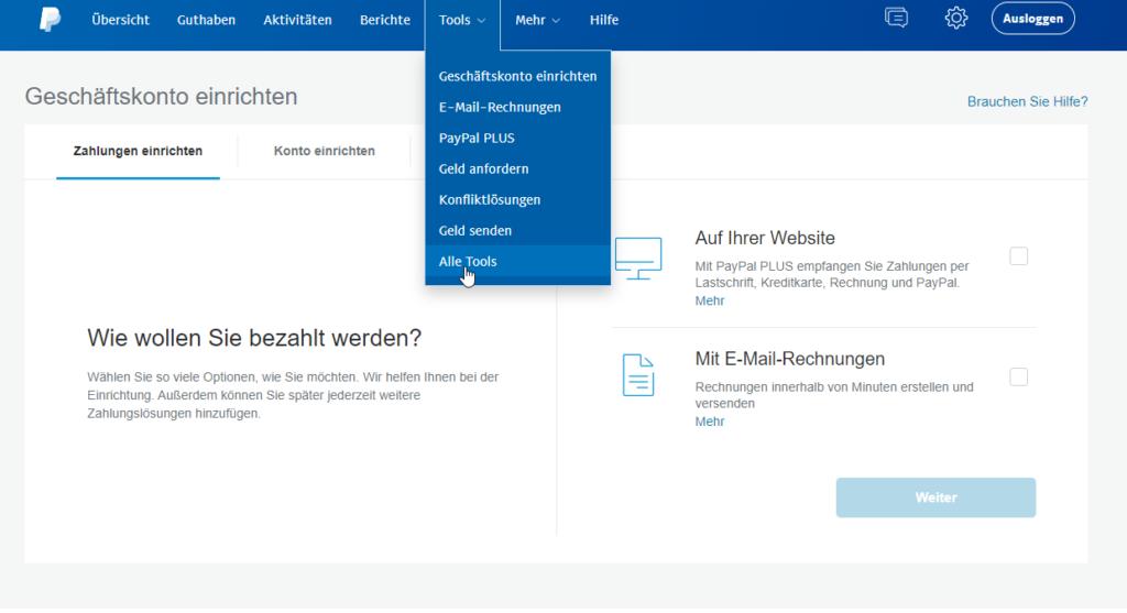PayPal Button erstellen - Auswahlmenü Alle Tools