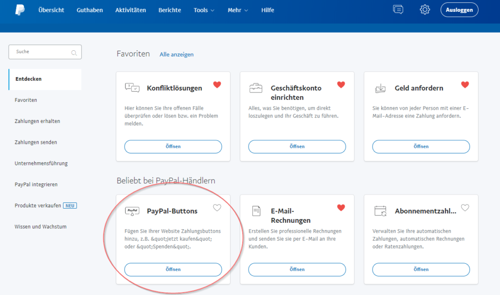 Auswahl in PayPal